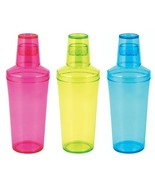 Unique Cocktail Shaker, Jolt Neon Plastic Cute Clear Insulated Shaker Co... - $22.09