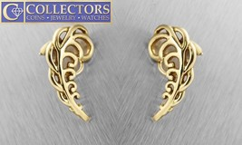 Ladies Tiffany Co Paloma Picasso 1981 18K Yellow Gold Fern Leaf Clip On Earrings - $1,418.74