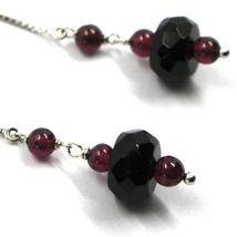 18K WHITE GOLD PENDANT EARRINGS, ONYX DISC, GARNET SPHERE, LENGTH 2.2 INCHES image 3