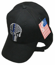USA Police Hat Law Enforcement Punisher Demon Skull Thin Blue Line Black 3D Cap - $21.77