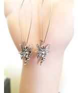 Long Dangle Fairy Charm Earrings silver fantasy handmade jewelry - $3.99
