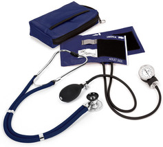 Prestige Medical Sprague Stethoscope BP Cuff Combo Kit Navy Blue Case New - $48.47