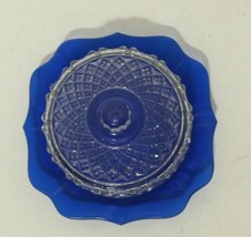 Imperial Glass Ohio Small Cheese Butter Dish Cobalt Blue Dish With Clear... - $27.38