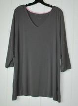 Isaac Mizrahi Live Womens Plus XL Tunic Knit Top V-Neck 3/4 Sleeves Gray... - $14.80