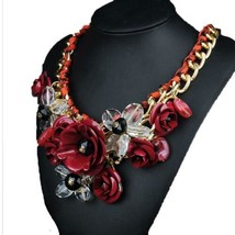Ornament Crystal Flower Woman Necklace Woman Short Sweater Necklace    d... - $18.80