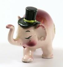 Vintage Ceramic Pink & Purple Trunk Up Elephant with Black Top Hat Figur... - $15.83