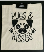Pug Dog Pugs and Kisses Cotton Canvas Tote Reusable Shopping Bag Shoulde... - $5.99