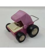 "Vtg Buddy L Pink Baby Buggy Carriage Pressed Steel Metal 3"" Car Toy Japan - $14.84"