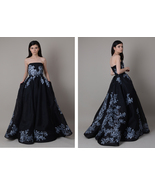 Hand painted ball gown ; Black wedding dress ; Long evening dress made f... - $1,700.00