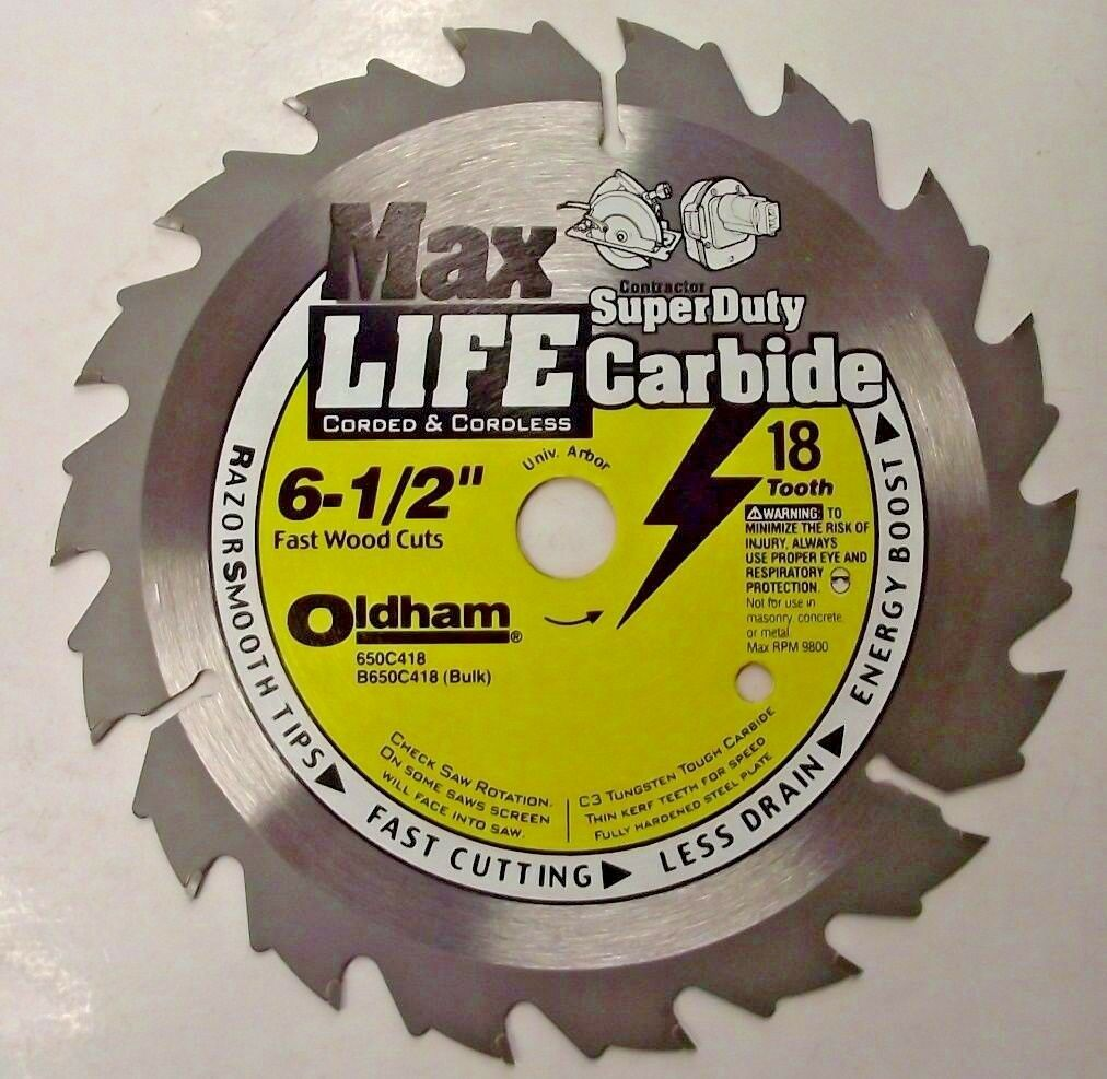 "Primary image for Oldham B650C418 6-1/2"" Super Duty Carbide Saw Blade Universal Arbor 18 Tooth"
