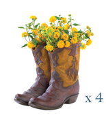 Lot of 4 COWBOY BOOT PLANTER Tabletop Rustic Western Party Centerpiece - $93.60
