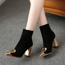 PB179 Luxe gold booties, genuine leather, US Size 3-9.5, black - $138.80