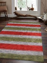 Rugsotic Carpets Hand Knotted Loom Wool 5' x 8' Area Rug Contemporary Gr... - $107.53