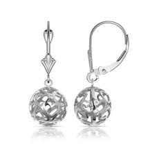 14K White Gold High Polished Hollow Heart Ball Drop Dangle Leverback Ear... - $174.23