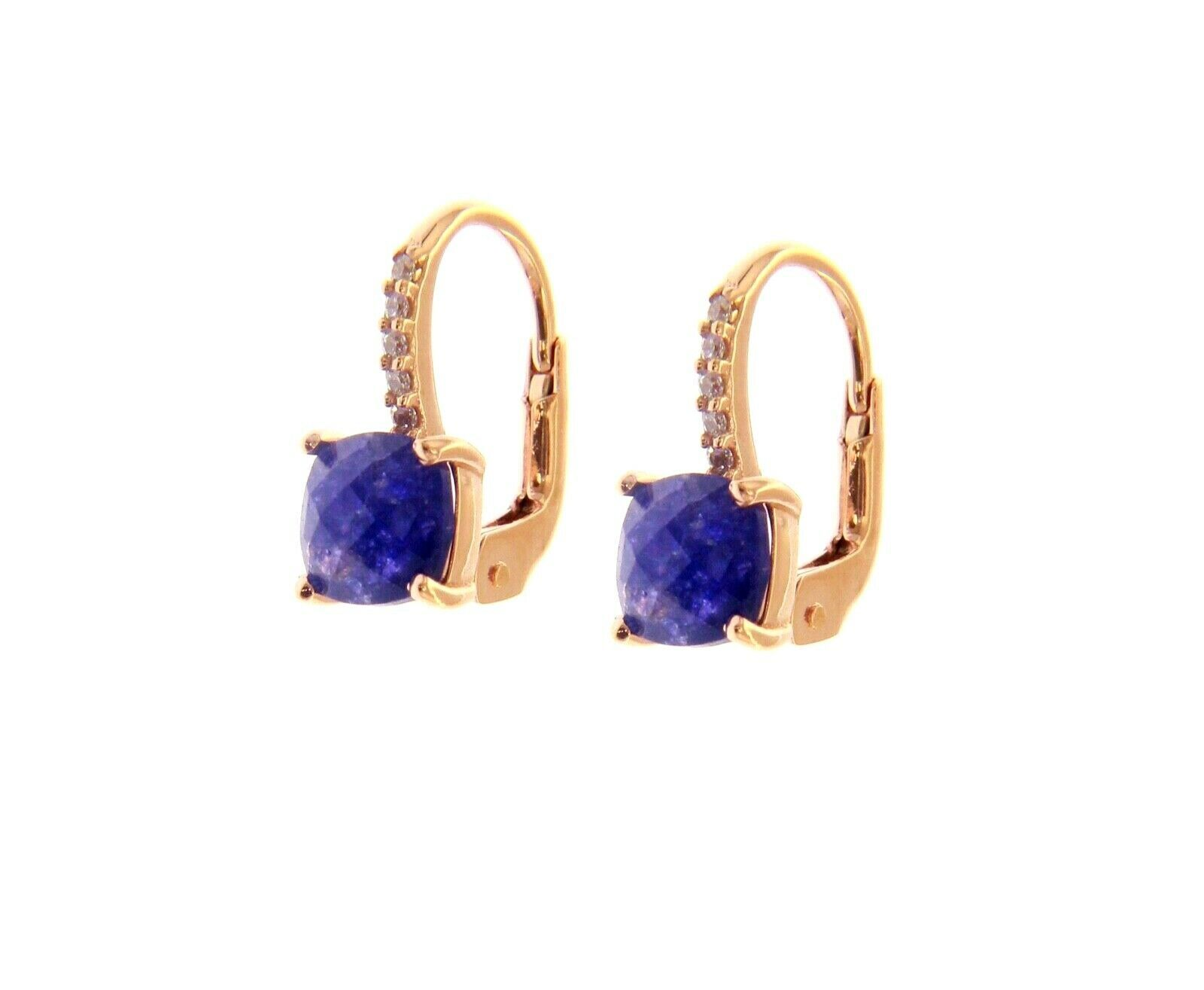 18K ROSE GOLD PENDANT EARRINGS WITH CUBIC ZIRCONIA & BLUE SAPPHIRE CUSHION CUT