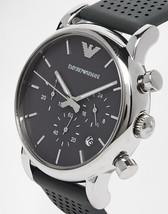 New EMPORIO ARMANI AR1735 Chronograph Silver Tone Round Gray Leather Men... - $148.49