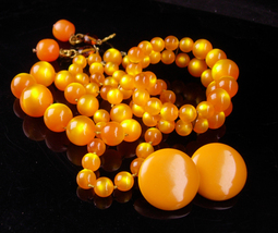 Vintage moonglow necklace set  / orange amber earrings / marigold bracelet - $125.00
