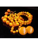 Vintage moonglow necklace set  / orange amber earrings / marigold bracelet - $125.00
