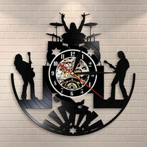 Rock and Roll Band LED Light Wall Clock Metal Music Group Vinyl Record D... - $43.26+