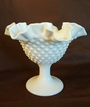 Fenton Art Glass Milk Glass HOBNAIL Ruffled Footed Comport Compote - $9.99