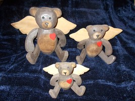 3 WOOD TEDDY BEAR ANGEL W/ WINGS RUSTIC,COUNTRY,MOVABLE ARMS AND LEGS - $21.50