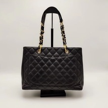 AUTH CHANEL QUILTED CAVIAR GST GRAND SHOPPING TOTE BAG GOLD HW image 4