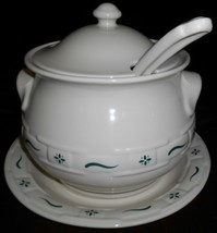 Longaberger 4 pc SOUP TUREEN w/UNDERPLATE/LADLE/LID Woven Traditions - G... - $118.79