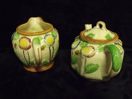 ANTIQUE JAPAN HAND PAINTED POPPIES PORCELAIN TEAPOT AND CREAMER SET K HA... - $23.76