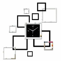 DIY Modern Wall Clock Watch Living Room Quartz Acrylic Black Frames Home... - $18.71