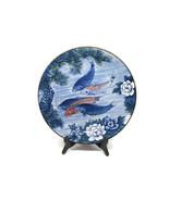 """SUN CERAMICS KOI FISH  ROUND PLATTER 12.5"""" BLUE LOTUS FLOWER Excellent - $58.79"""