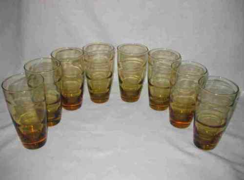 Neat Set Of 8 Mid Century Modern Libbey Yellow Honey Gold Drinking Glasses