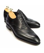 Men Handmade Original Black Leather Shoes, Men Wing Tip Dress Formal Shoes - $185.97+
