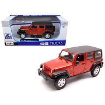 2015 Jeep Wrangler Unlimited Orange 1/24 Diecast Model Car by Maisto 312... - $43.97