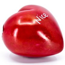 Vaneal Group Hand Carved Soapstone Naughty/Nice 2-Sided Red Heart Paperweight image 4