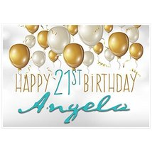 Gold and White Balloons Personalized Birthday Banner Party Decoration - ... - €35,32 EUR