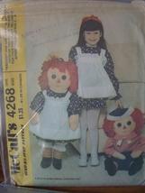 """Vintage 1974 Pattern 36"""" Raggedy Ann & Andy - Apron fits Child 2-6 - $6.99"""