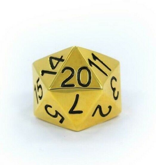 Han Cholo Silver Gold Plated Surgical Stainless Steel His/Her D20 Dice Ring NEW
