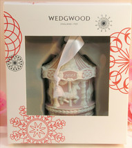 New Wedgwood Pink Jaspeware Baby 1ST First Christmas Carousel Ornament 2015 - $35.99
