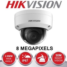 HIKVISION 8MP IP POE CCTV DOME CAMERA 4K 2.8MM OUTDOOR 30M WHITE DS-2CD2... - $289.95