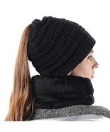 Women Hat Scarf Set Stretch Knit High Ponytail Beanie Tail Winter Outdoo... - $19.22