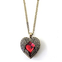 Xl060 European And American Retro Palace Peach Heart Hollow Red Crystal ... - $5.13