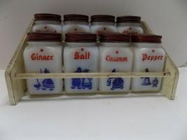 Milk Glass Dove Spice Jars Red Tin Tops & Rack Frank Tea & Spice Origina... - £50.14 GBP