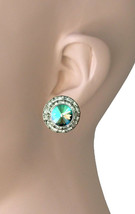 "0.75"" Drop Clip-On Earrings, Vitrail Green Crystals, Hypoallergenic,Made in USA - $12.40"
