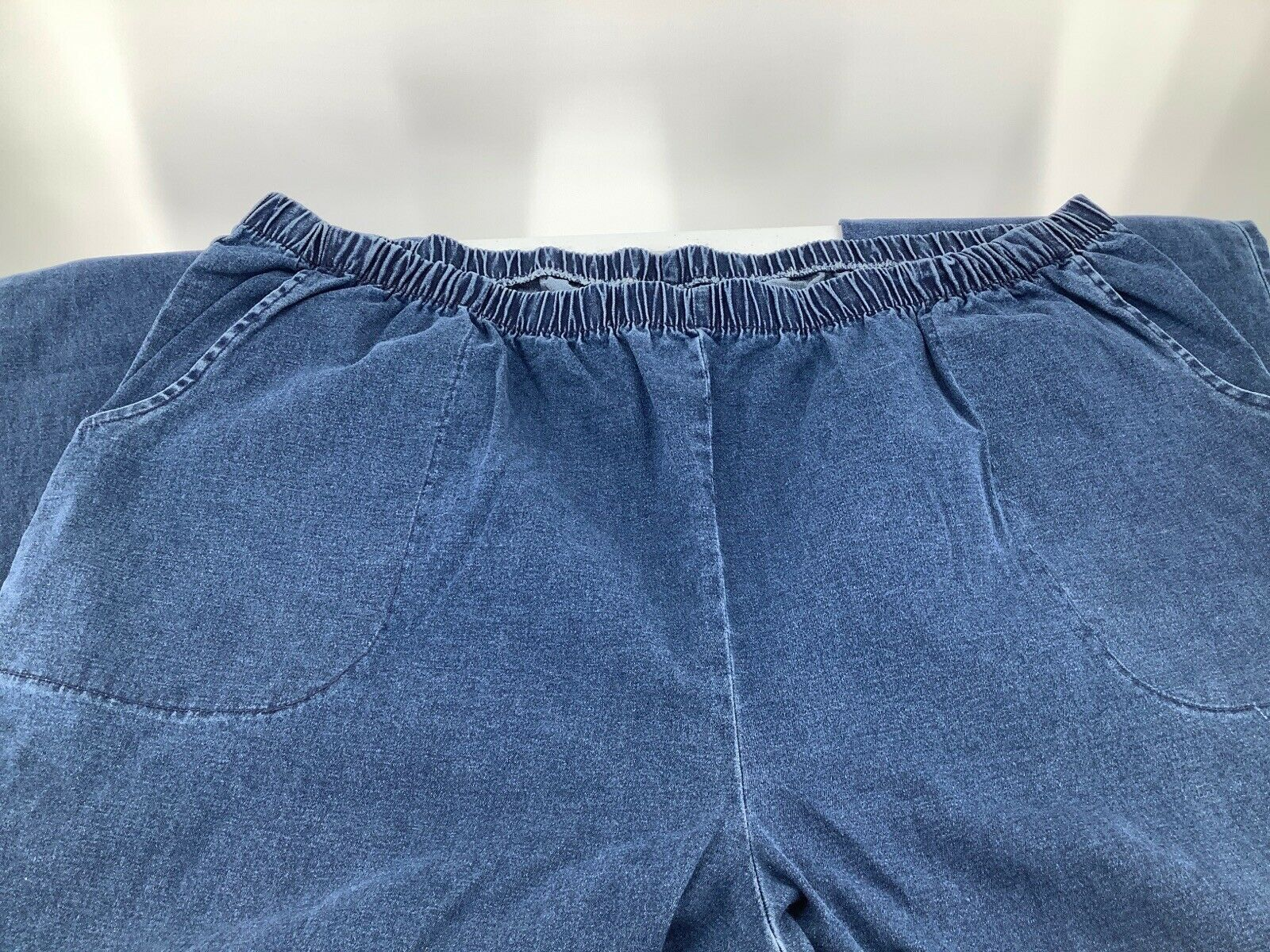 Primary image for Roman Women 30W Plus Jeans Denim Blue Stretch Waist No Zipper Pull On Bootcut