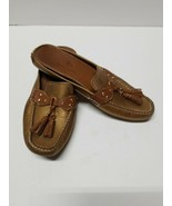 Cole haan womens shoes size 8B Gold Leather Slippers Tassels Mules Clogs - $34.65