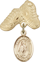 14K Gold Filled Baby Badge with St. Patrick Charm Pin 1 X 5/8 inch - $108.05