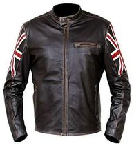Cafe Racer Biker UK Flag Patch Distressed Brown Synthetic Leather Jacket image 1