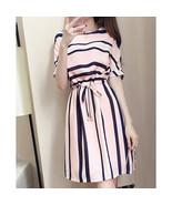 Women Fashionable Dress Graceful Striped Drawstring Waist Dress Pink_XXL - $17.14