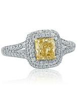 1.25 KT Giallo Splendente Diamante Fidanzamento Anello 18k Oro Bianco - $2,060.91