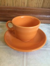 Fiestaware Tangerine Orange Small Cup and Saucer Espresso Cup Homer Laug... - $20.45